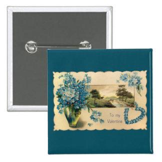 Vintage Blue Flower Valentine Button