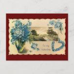 Vintage Blue Flower Valentine Postcard