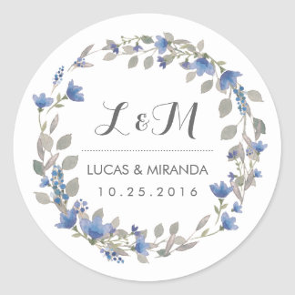 Vintage Blue Flower Wreath Wedding Favor Sticker