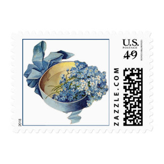 Vintage Blue Flowers and Bow Postage