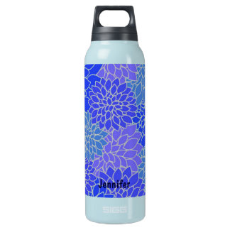 Vintage Blue Flowers Insulated Water Bottle