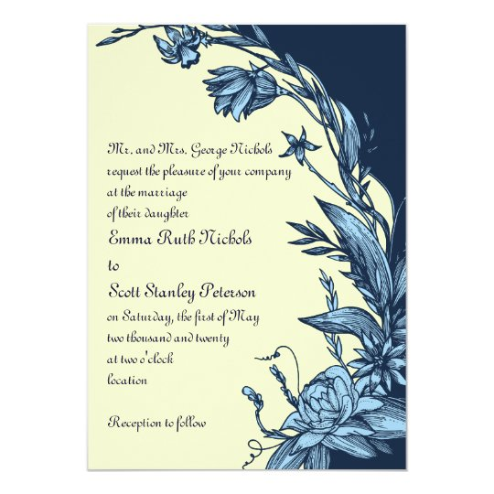 Vintage blue flowers on pale yellow wedding card