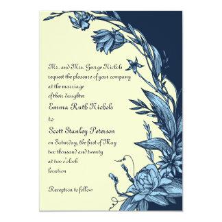 "Vintage blue flowers on pale yellow wedding 5"" x 7"" invitation card"