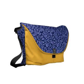 Vintage Blue Flowers on Saffron Yellow Messenger B Messenger Bags