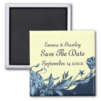 Vintage blue flowers pale ivory Save the Date Refrigerator Magnets