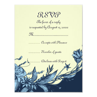Vintage blue flowers pale yellow flowers RSVP card Announcements