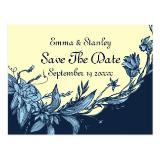 Vintage blue flowers pale yellow Save the Date Postcard
