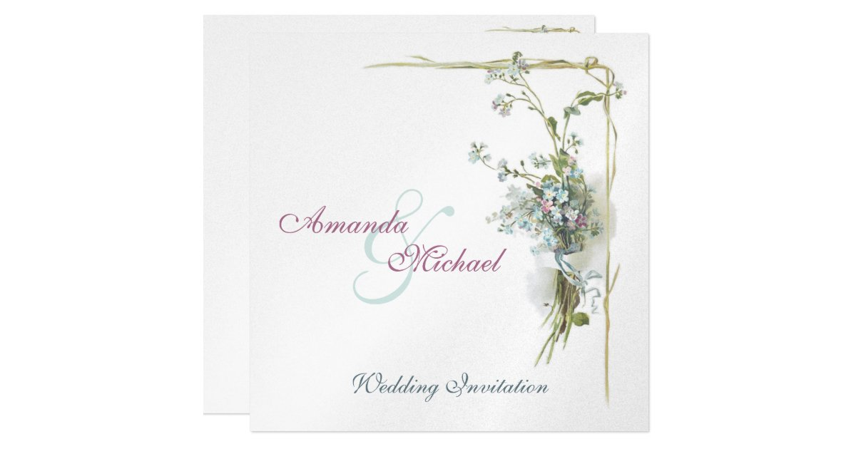 Forget Me Not Wedding Invitations: Vintage Blue Forget Me Nots Wedding Card