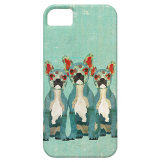 Vintage Blue French Bulldogs  iPhone Case iPhone 5 Cases