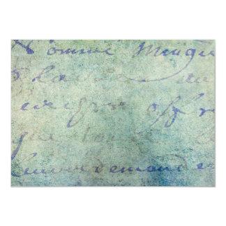 Vintage Blue French Script Parchment Paper Card