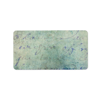 Vintage Blue French Script Parchment Paper Label