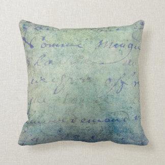 Vintage Blue French Script Parchment Paper Throw Pillow