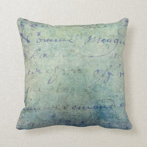 French Blue Throw Pillows : Vintage Blue French Script Parchment Paper Throw Pillows Zazzle