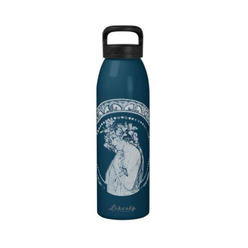 Vintage Blue Goddess Reusable Water Bottle