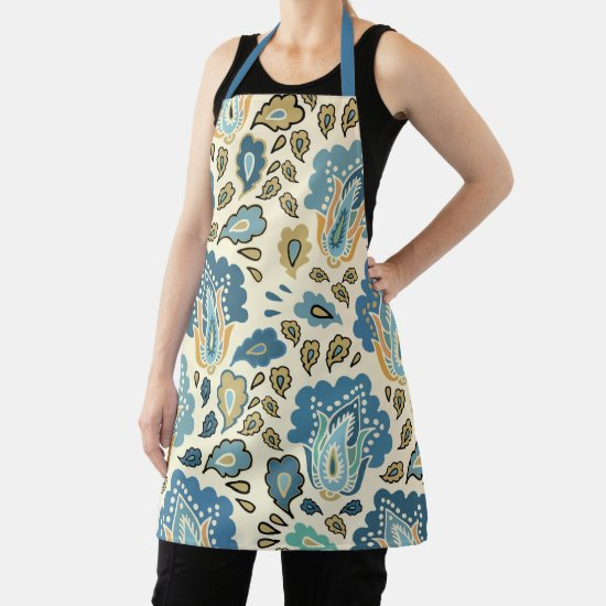 Vintage Blue Gold Abstract Paisley Pattern Apron