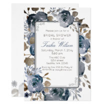 Vintage Blue Gold Floral Botanical Bridal Shower Card