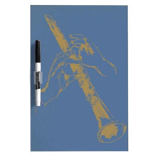 Vintage Blue Gold Hands Clarinet Benny Goodman Dry-Erase Board
