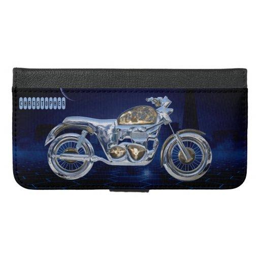 Vintage Blue Golden Sparkling Chrome Chopper iPhone 6/6s Plus Wallet Case