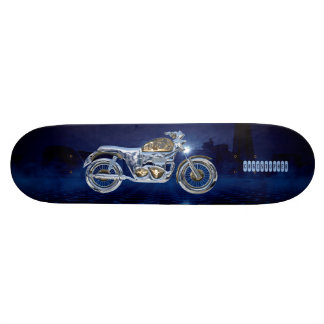 Vintage Blue Golden Sparkling Chrome Chopper Skateboard