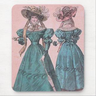 Vintage Blue Gowns Fashion Illustration Mouse Pad
