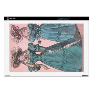 Vintage Blue Gowns Fashion Illustration Laptop Decal