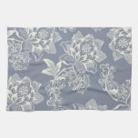 Vintage Blue-Gray and Cream Floral.jpg Kitchen Towel