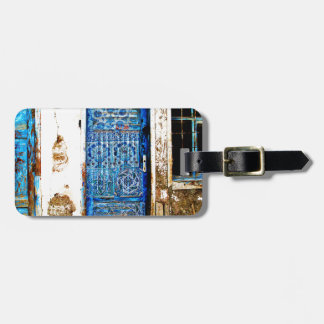 Vintage Blue Greek Door Rustic Style Bag Tag