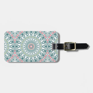 Vintage Blue, Green and Red Kaleidoscope Mandala Luggage Tag