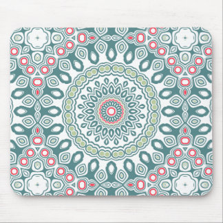 Vintage Blue, Green and Red Kaleidoscope Mandala Mouse Pad