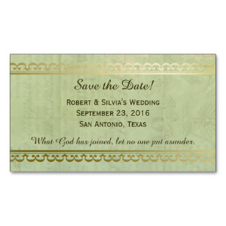 Vintage Blue Green Antique Save the Date Magnetic Business Cards (Pack Of 25)