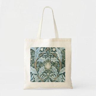 Vintage Blue Green Elegant Floral Wallpaper Tote Bags