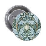 Vintage Blue Green Elegant Floral Wallpaper Button