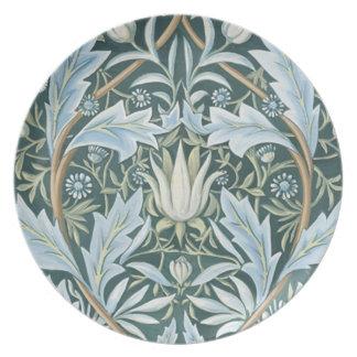 Vintage Blue Green Elegant Floral Wallpaper Party Plates