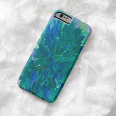 Vintage Blue-Green Painterly Floral iPhone 6 Cases Barely There iPhone 6 Case
