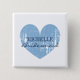 Vintage blue heart bridesmaids buttons | Square