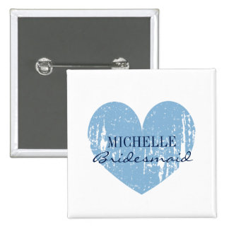 Vintage blue heart bridesmaids buttons   Square