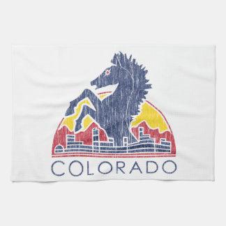 Vintage Blue Horse Colorado Logo Hand Towel