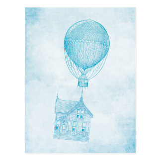 Vintage Blue Hot Air Balloon Moving Cottage Postcard