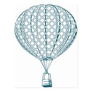 Vintage Blue Hot Air Balloon Postcard