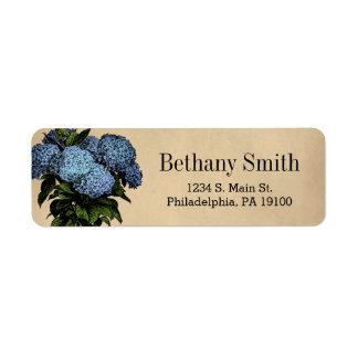 Vintage Blue Hydrangea Botanical Floral Return Address Label