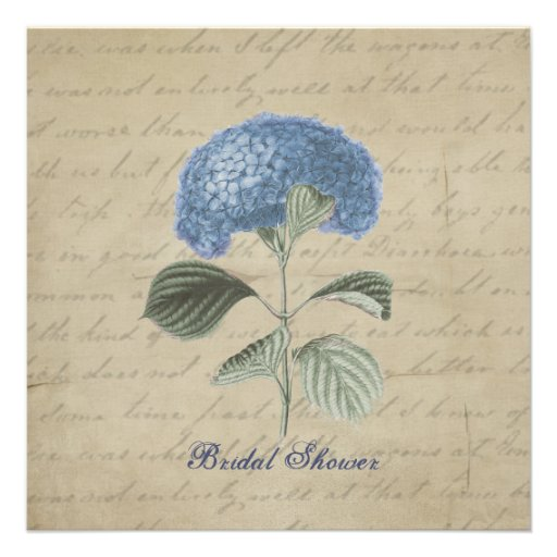 Vintage Blue Hydrangea Bridal Shower Invitation
