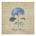Vintage Blue Hydrangea Bridal Shower Invitation