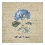 "Vintage Blue Hydrangea Bridal Shower 5.25"" Square Invitation Card"