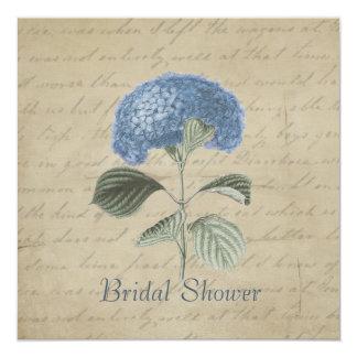 Vintage Blue Hydrangea Bridal Shower 5.25x5.25 Square Paper Invitation Card
