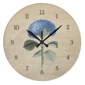 Vintage Blue Hydrangea Flower Large Clock