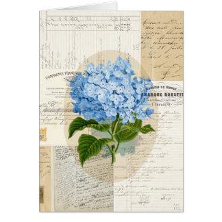 Vintage Blue Hydrangea French Card