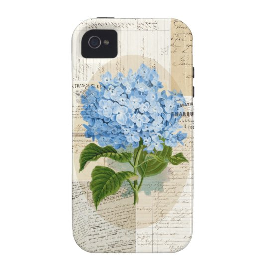 Vintage Blue Hydrangea French Ephemera Case
