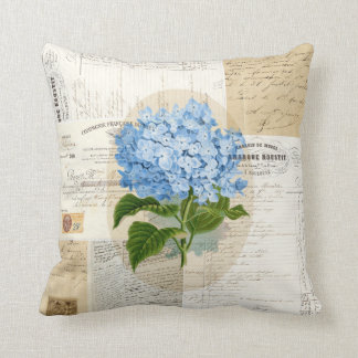 Vintage Blue Hydrangea French Ephemera Pillow