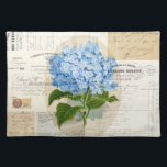 """Vintage Blue Hydrangea French Ephemera Placemat<br><div class=""""desc"""">A beautiful vintage image of a blue hydrangea is set on a background collage of vintage Parisian and French ephemera, including an old invoice, receipt, handwritten letter, the handwritten manuscript of Madame Bovary, lovely typography and old stamps. A &quot;ridiculously pretty&quot; placemat. Digital collage by artist Anita Barnard. A version with...</div>"""