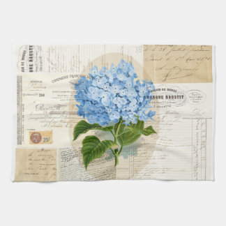 Vintage Blue Hydrangea French Ephemera Towel
